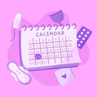Concepto de calendario menstrual