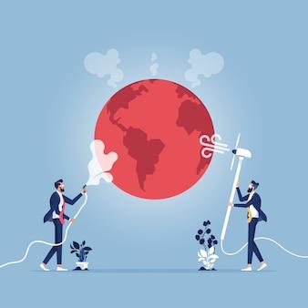 Concepto de calentamiento global: gente de negocios tratando de detener el calentamiento global