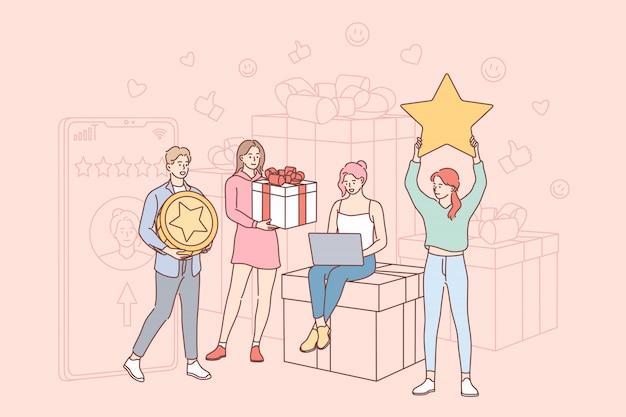 Concepto de calificación, obsequios, comentarios, compras, marketing, en línea y comercio electrónico