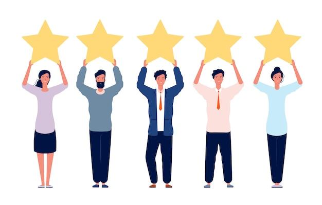 Concepto de calificación. personajes con cinco estrellas doradas para comentarios positivos, buena revisión de imagen plana. estrellas de calificación de ilustración, buena revisión de comentarios