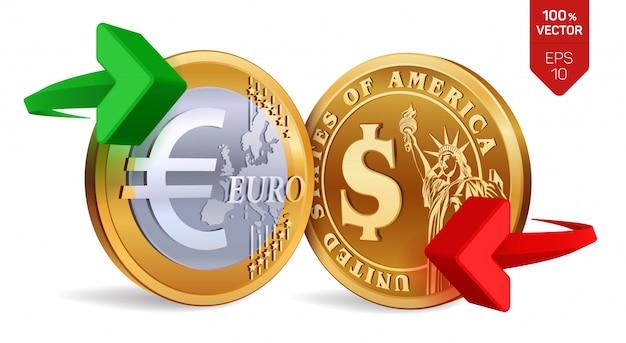 Concepto de cambio de moneda dólar a euro. monedas de oro con el símbolo del euro y el dólar con flechas verdes y rojas.