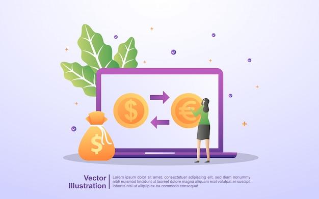 Concepto de cambio de moneda. la gente intercambia monedas en línea.