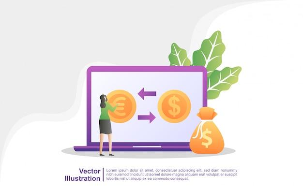 Concepto de cambio de moneda. las personas intercambian monedas en línea. servicios mundiales de cambio de divisas.