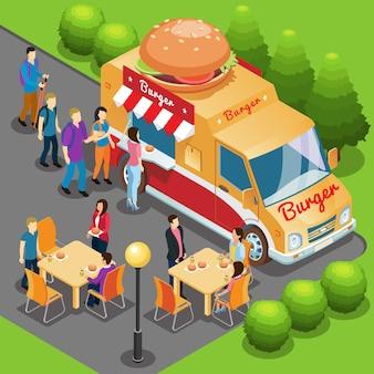 Concepto de camión de comida rápida isométrica