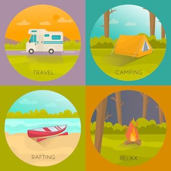 Concepto de campamentos turísticos