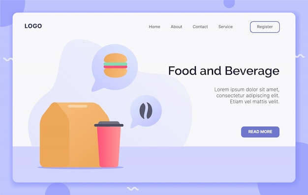 Concepto de campaña de alimentos y bebidas para el aterrizaje de la plantilla del sitio web o el sitio web de la página de inicio.estilo moderno de dibujos animados plana.