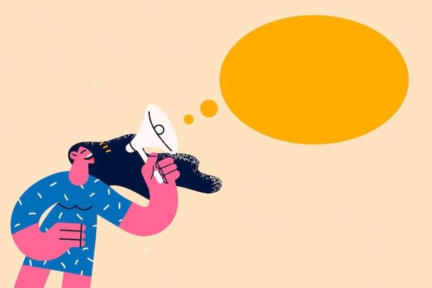 Concepto de campaña de anuncio y publicidad. personaje de dibujos animados mujer joven hablando gritando con altavoz sobre ilustración de vector de fondo amarillo