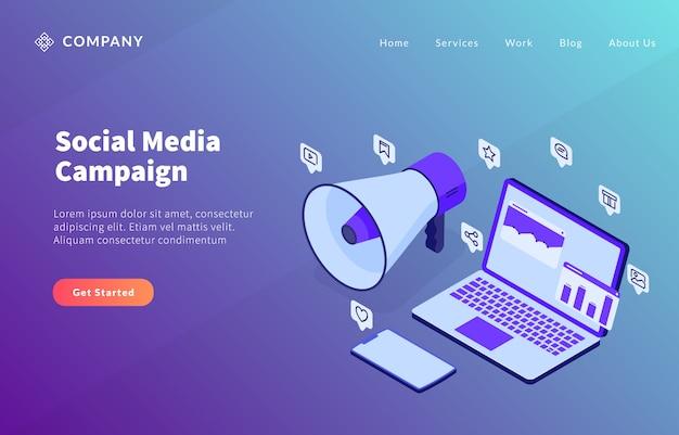 Concepto de campaña de redes sociales con análisis de dana para computadora portátil y megáfono con altavoz para plantilla de sitio web o página de inicio