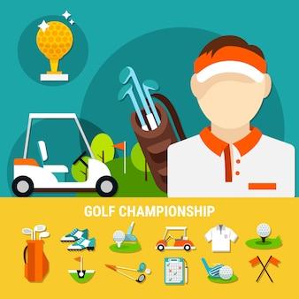 Concepto de campeonato de golf