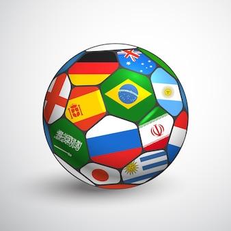 Concepto de campeonato mundial de fútbol. balón de fútbol con diferentes banderas.