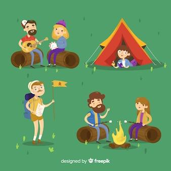 Concepto de camping con gente joven