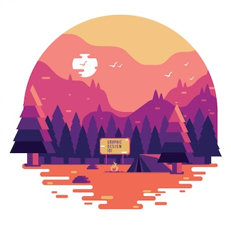 Concepto de camping plana