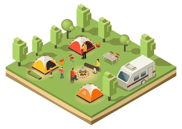 Concepto de camping de viaje isométrico