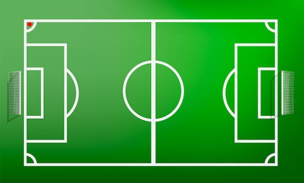 Concepto de campo de fútbol de vista superior, estilo realista