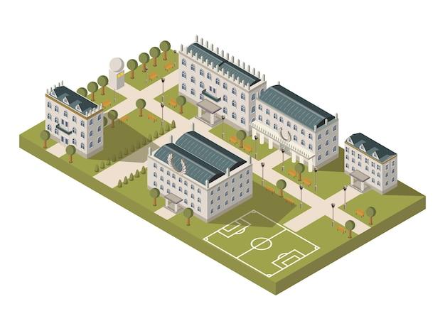 Concepto de campus universitario isométrico