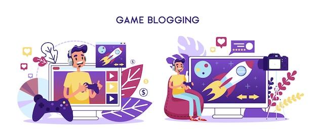 Concepto de canal de video de blogger de juego. juego de personajes