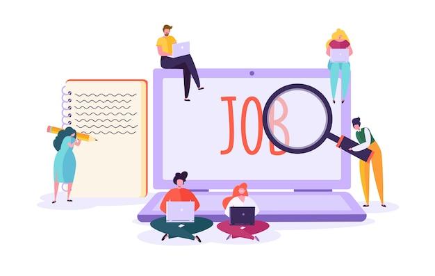 Concepto de candidato de búsqueda de empleo. personajes que usan laptop en busca de trabajo. agencia de reclutamiento contratación tecnología, recursos humanos.