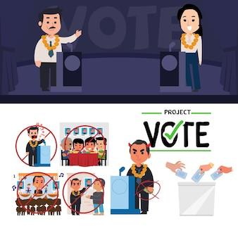 Concepto de candidato a las elecciones. discurso de debate