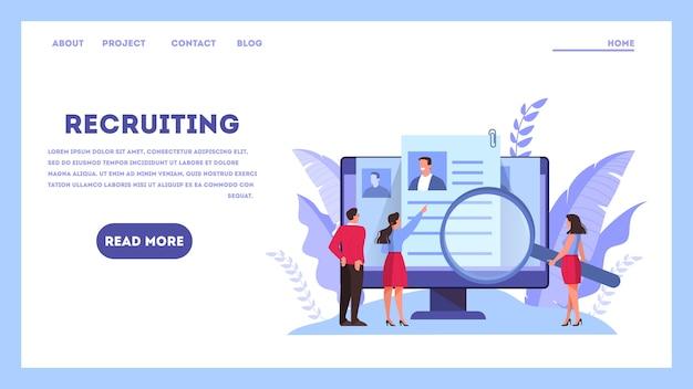 Concepto de candidato de trabajo. idea de empleo y entrevista de trabajo. búsqueda de jefe de contratación. ilustración en estilo de dibujos animados