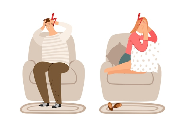 Concepto cansado. exceso de trabajo, el hombre y la mujer tienen dolor de cabeza.