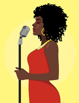 Concepto de cantante femenina atractiva de dibujos animados