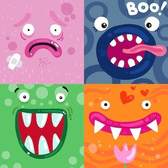 Concepto de caras de monstruos divertidos