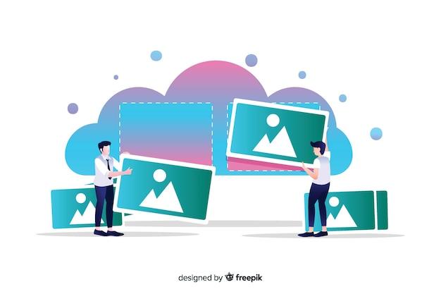 Concepto de carga de imágenes para la página de destino