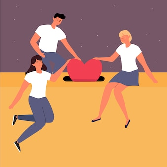 Concepto de caridad y donaciones. el grupo voluntario da donaciones con corazón o amor juntas en una ilustración de caja.