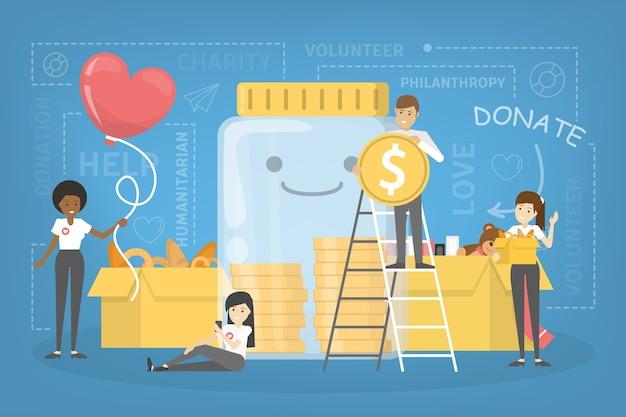 Concepto de caridad. la gente dona dinero para ayudar a los pobres. haz una donación y comparte el amor. idea de humanitario. ilustración vectorial plana