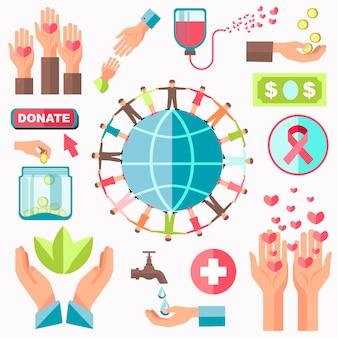 Concepto de caridad vector set