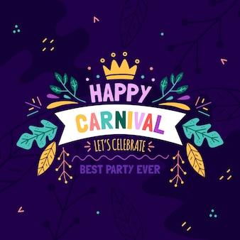 Concepto de carnaval dibujado a mano con saludo