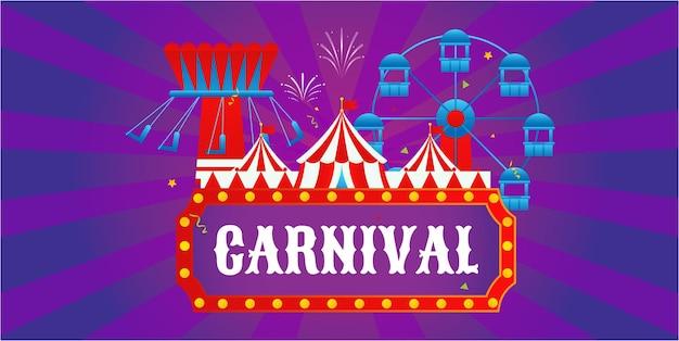 Concepto de carnaval con varios juegos y fuegos artificiales.