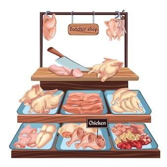 Concepto de carnicería dibujado a mano