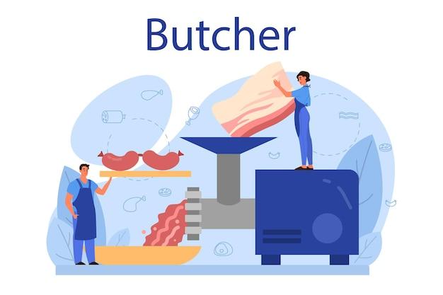 Concepto de carnicero o carnicero. carnes y productos cárnicos frescos