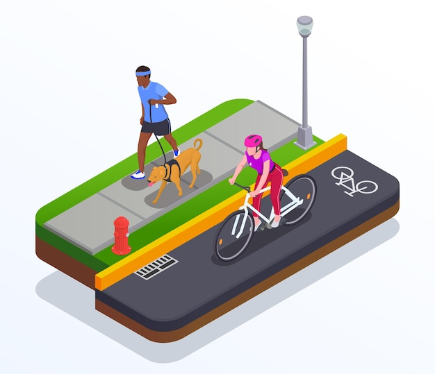 Concepto de carrera y ciclismo con símbolos isométricos de estilo de vida activo.