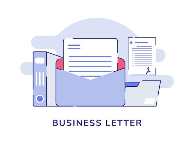 Concepto de carta comercial abrir archivo de correo carpeta titular documento fondo blanco aislado