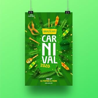 Concepto de cartel de carnaval brasileño realista para plantilla