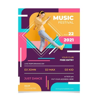 Concepto de cartel del festival de música 2021