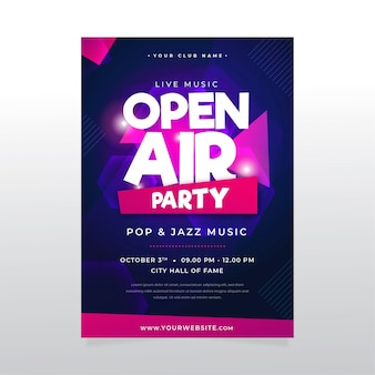 Concepto de cartel de fiesta al aire libre
