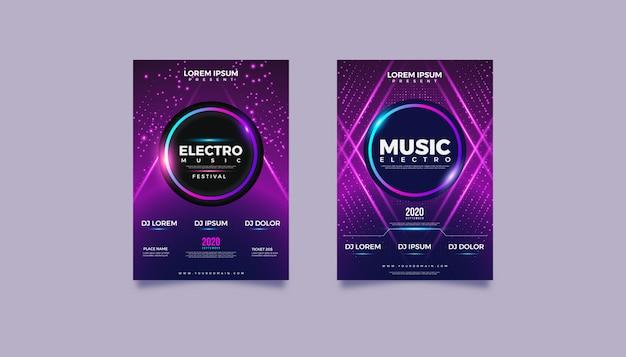 Concepto de cartel de música electrónica abstracta moderna.