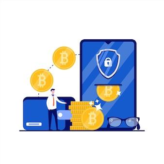 Concepto de carteras criptográficas en línea con carácter. la gente se para cerca del teléfono inteligente con bitcoins, escudo de seguridad. estilo plano moderno para página de destino, aplicación móvil, póster, folleto, infografía, imágenes de héroe.