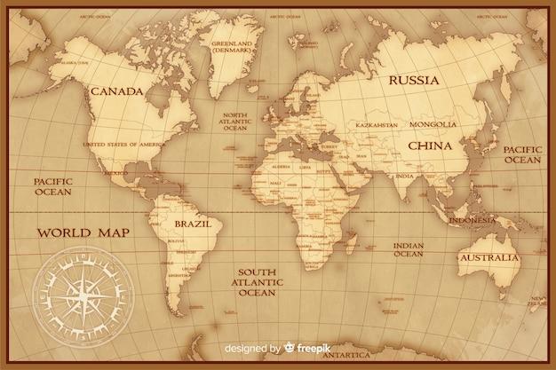 Concepto de cartografía de mapa mundial vintage