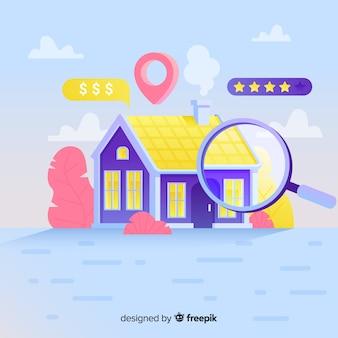 Concepto de casa buscando página de aterrizaje