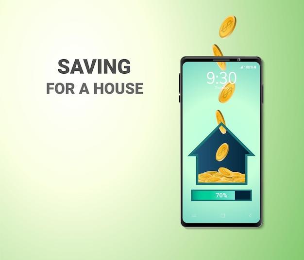 Concepto de casa de foros de ahorro de dinero digital en línea espacio en blanco en el teléfono