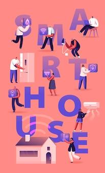 Concepto de casa inteligente. ilustración plana de dibujos animados