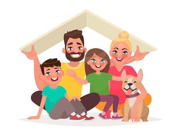 Concepto de la casa de una joven familia feliz. papá, madre, hijo, hija y perro bajo el techo de la casa.