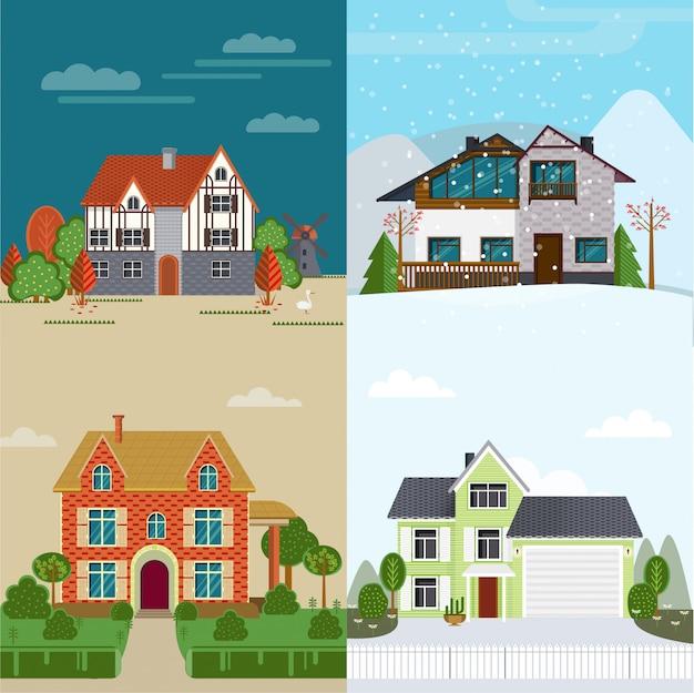 Concepto de casas de alquiler plano