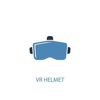 Concepto de casco vr 2 icono de color. ilustración simple elemento azul. diseño de símbolo de concepto de casco vr. se puede utilizar para ui / ux web y móvil