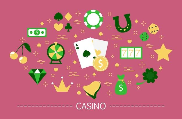 Concepto de casino. adicción al juego. juega al póker y a la ruleta