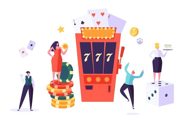 Concepto de casino y juegos de azar. personajes de personas que juegan en juegos de la fortuna. hombre y mujer juegan al póquer, ruleta, máquina tragamonedas.